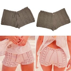 Chan Luu Brown Crochet Knit Drawstring Shorts M